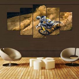 Biker Pattern 5 Pieces Hanging Canvas Waterproof Eco-friendly Framed Wall Prints