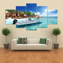 Ship Pattern 5 Pieces Hanging Canvas Waterproof Eco-friendly Framed Wall Prints