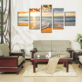 Sand Beach 5 Pieces Hanging Canvas Waterproof Eco-friendly Framed Wall Prints