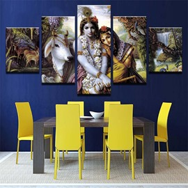 5 Pieces India Girl Pattern Hanging Canvas Waterproof Eco-friendly Framed Wall Prints