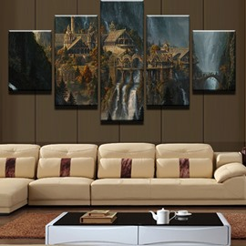 5 Pieces Dreamlike House Pattern Hanging Canvas Waterproof Eco-friendly Framed Wall Prints