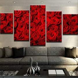 5 Pieces Rose Pattern Hanging Canvas Waterproof Eco-friendly Framed Wall Prints