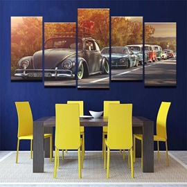 5 Pieces Car Pattern Hanging Canvas Waterproof Eco-friendly Framed Wall Prints