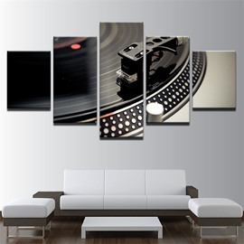 CD Player Pattern 5 Pieces Hanging Canvas Waterproof Eco-friendly Framed Wall Prints
