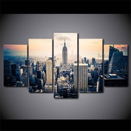 City View 5 Pieces Hanging Canvas Waterproof Eco-friendly Framed Wall Prints