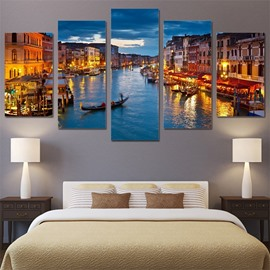 Venice View 5 Pieces Hanging Canvas Waterproof Eco-friendly Framed Wall Prints