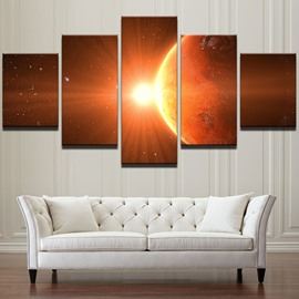 Universe Pattern 5 Pieces Hanging Canvas Waterproof Eco-friendly Framed Wall Prints