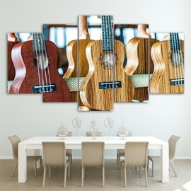 Guitar Pattern 5 Pieces Hanging Canvas Waterproof Eco-friendly Framed Wall Prints