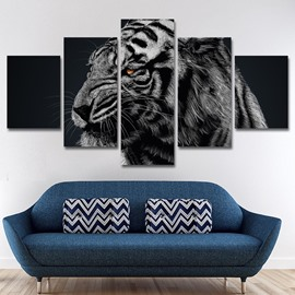 Tiger Head Pattern 5 Pieces Hanging Canvas Waterproof Eco-friendly Framed Wall Prints