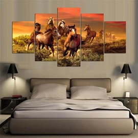 5 Pieces Running Horse Pattern Hanging Canvas Waterproof Eco-friendly Framed Wall Prints