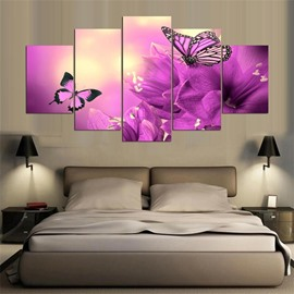 5 Pieces Purple Butterfly Pattern Hanging Canvas Waterproof Eco-friendly Framed Wall Prints