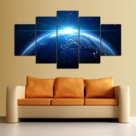 5 Pieces Earth Pattern Hanging Canvas Waterproof Eco-friendly Framed Wall Prints