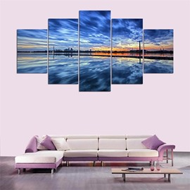 Sea View Pattern 5 Pieces Hanging Canvas Waterproof Eco-friendly Framed Wall Prints