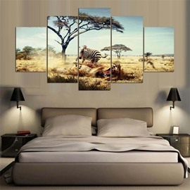 5 Pieces Hanging Canvas Zebra Pattern Waterproof Eco-friendly Framed Wall Prints