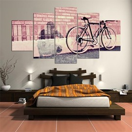 Pink Bike Pattern 5 Pieces Hanging Canvas Waterproof Eco-friendly Framed Wall Prints