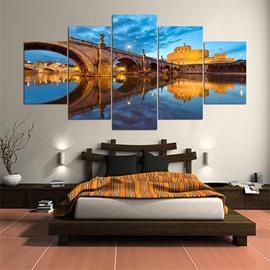Bridge Pattern 5 Pieces Hanging Canvas Waterproof Eco-friendly Framed Wall Prints