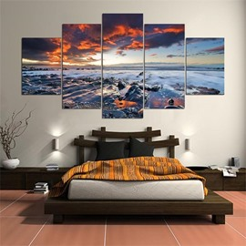 5 Pieces Hanging Canvas Sea View Waterproof Eco-friendly Framed Wall Prints