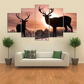 5 Pieces Hanging Canvas Elk Pattern Waterproof Eco-friendly Framed Wall Prints