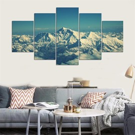 Snow Mountain Pattern 5 Pieces Hanging Canvas Waterproof Eco-friendly Framed Wall Prints