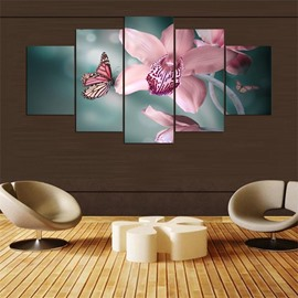 Flower And Butterfly Pattern 5 Pieces Hanging Canvas Waterproof Eco-friendly Framed Wall Prints
