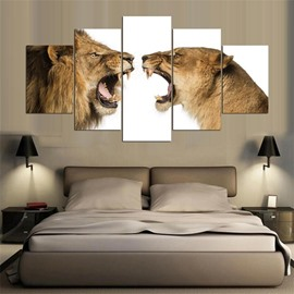 Funny Lion Pattern 5 Pieces Hanging Canvas Waterproof Eco-friendly Framed Wall Prints