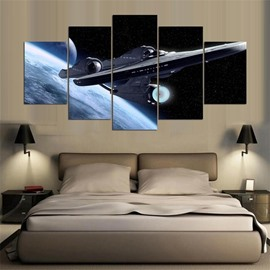Spacecraft Pattern 5 Pieces Hanging Canvas Waterproof Eco-friendly Framed Wall Prints