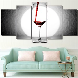 Red Wine Glass 5 Pieces Hanging Canvas Waterproof Eco-friendly Framed Wall Prints