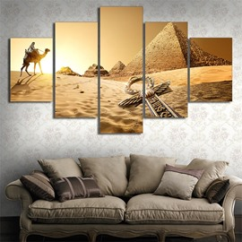 Pyramid Pattern 5 Pieces Hanging Canvas Waterproof Eco-friendly Framed Wall Prints
