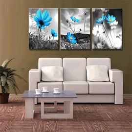 Blue Flower Pattern 3 Pieces Hanging Canvas Waterproof Eco-friendly Framed Wall Prints