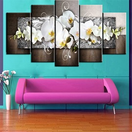 Light Yellow Orchid Pattern 5 Pieces Hanging Canvas Waterproof Eco-friendly Framed Wall Prints
