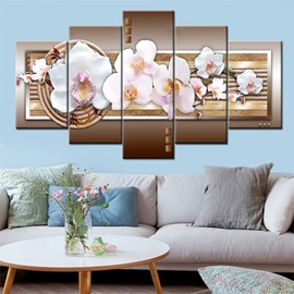 Pink Orchid Pattern 5 Pieces Hanging Canvas Waterproof Eco-friendly Framed Wall Prints