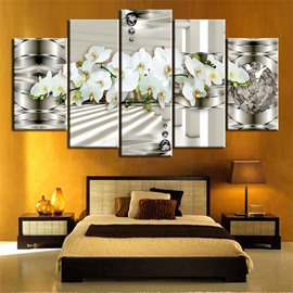 White Orchid Pattern 5 Pieces Hanging Canvas Waterproof Eco-friendly Framed Wall Prints