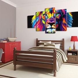 Lion Pattern 5 Pieces Hanging Canvas Eco-friendly Framed Wall Prints