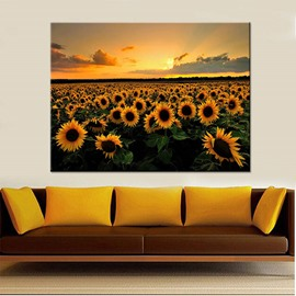 Sunflowers Spray Painting Natural Scenery Modern Print Wall Decorations
