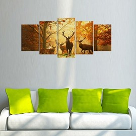 3D Elk Animal Waterproof Home Decor Canvas Wall Prints with Wooden Frame