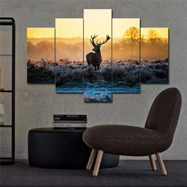 3D Elk Animal Waterproof Home Decor Canvas Wall Prints with Wooden Frame Classic Wall Decor