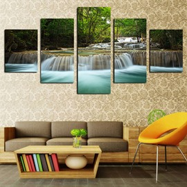 Green Leaves and Running Water Modern Landscape Spray Painting Calligraphy Painting Non-Framed Prints