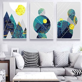 Abstract Mountain in Daytime Canvas Prints Wall Art Paintings Abstract Geometry Wall Artworks Pictures for Living Room Bedroom Decoration 3 Panels Home bathroom Wall decor posters