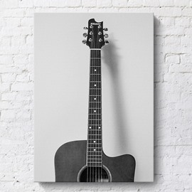 Simple Black and White Guitar Spray Painting Wall Decorations Non-Framed Prints