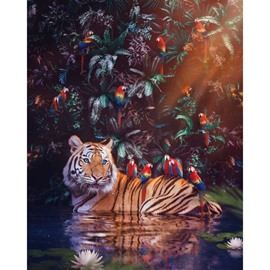 Tiger Non-framed Prints Oil Painting Animal Wall Decorations Wall Art Picture for Livig Room