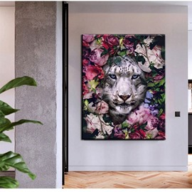 3D White Tiger and Floral Non-framed Prints Non-Woven Wall Decorations Canvas Oil Painting for Bedroom Living Room