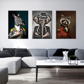 Zebra Head and Human Body Abstract Portrait Waterproof Non-Framed Prints Home Decor Wall Art for Living Room