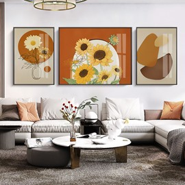 Modern Simple Figure Sunflower Plants Framed Prints Hanging Picture Wall Art Living Room Decoration Painting Sofa Background Wall Abstract Painting