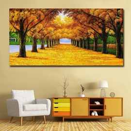 Yellow Tree and Deciduous Avenue Wall Prints Spray Painting Natural Scenery Modern Print Wall Decorations Non-Framed Prints