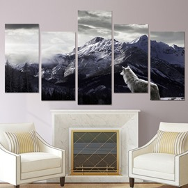 Waterproof Wolf and  Mountain Plain Coloured 5 Pieces Hanging Canvas Eco-friendly Non-Framed Prints Wall Prints