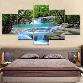 Waterproof Landscape Stream in Forest Pattern 5 Pieces Hanging Canvas Eco-friendly Non-Framed Prints Wall Prints