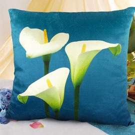 New Arrival Beautiful Three Heads of Calla Flowers Print Throw Pillowcase