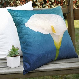 New Arrival Elegant Single Calla Flower Print Throw Pillowcase