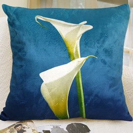 New Arrival Lovely Calla Flowers Print Blue Throw Pillowcase