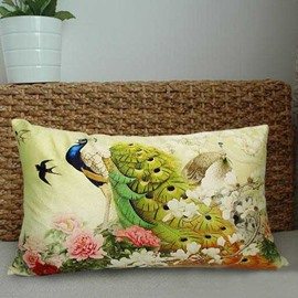 New Arrival Elegant Peacocks and Colorful Flowers Print Throw Pillowcase